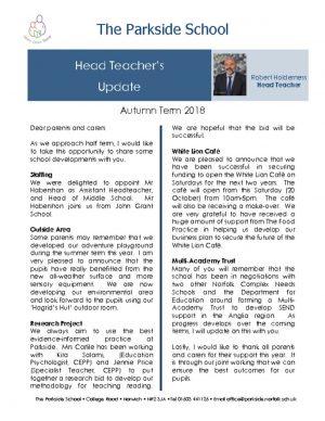 thumbnail of Head Teacher Update.Autumn Term 2018
