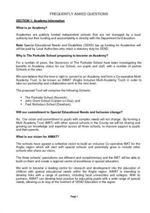 thumbnail of Parkside Academy Conversion FAQ