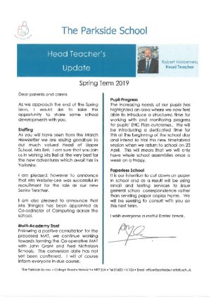 thumbnail of Head Teacher's Update – Spring Term 2019