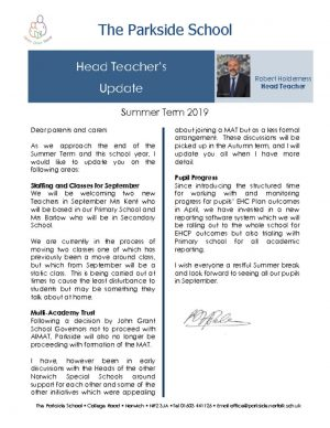 thumbnail of Head Teacher Newsletter.Summer Term 2019