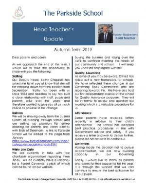 thumbnail of Head Teacher Newsletter.Autumn Term 2019