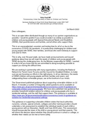thumbnail of Minister Ford's open letter to the SEND sector (1)