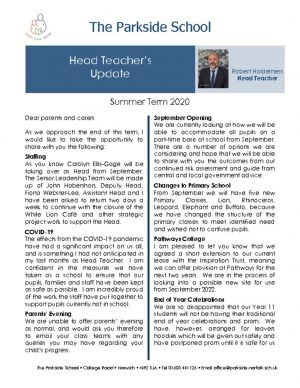 thumbnail of Head Teacher Newsletter.Summer Term 2020