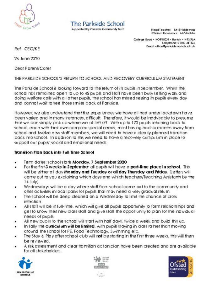 thumbnail of Letter Return to School in September 26062020