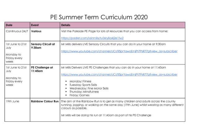 thumbnail of PE Summer Term Curriculum 2020